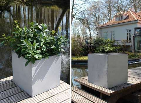 Leicht und trendy: Pflanzkübel aus Fiberglas im Beton-Design