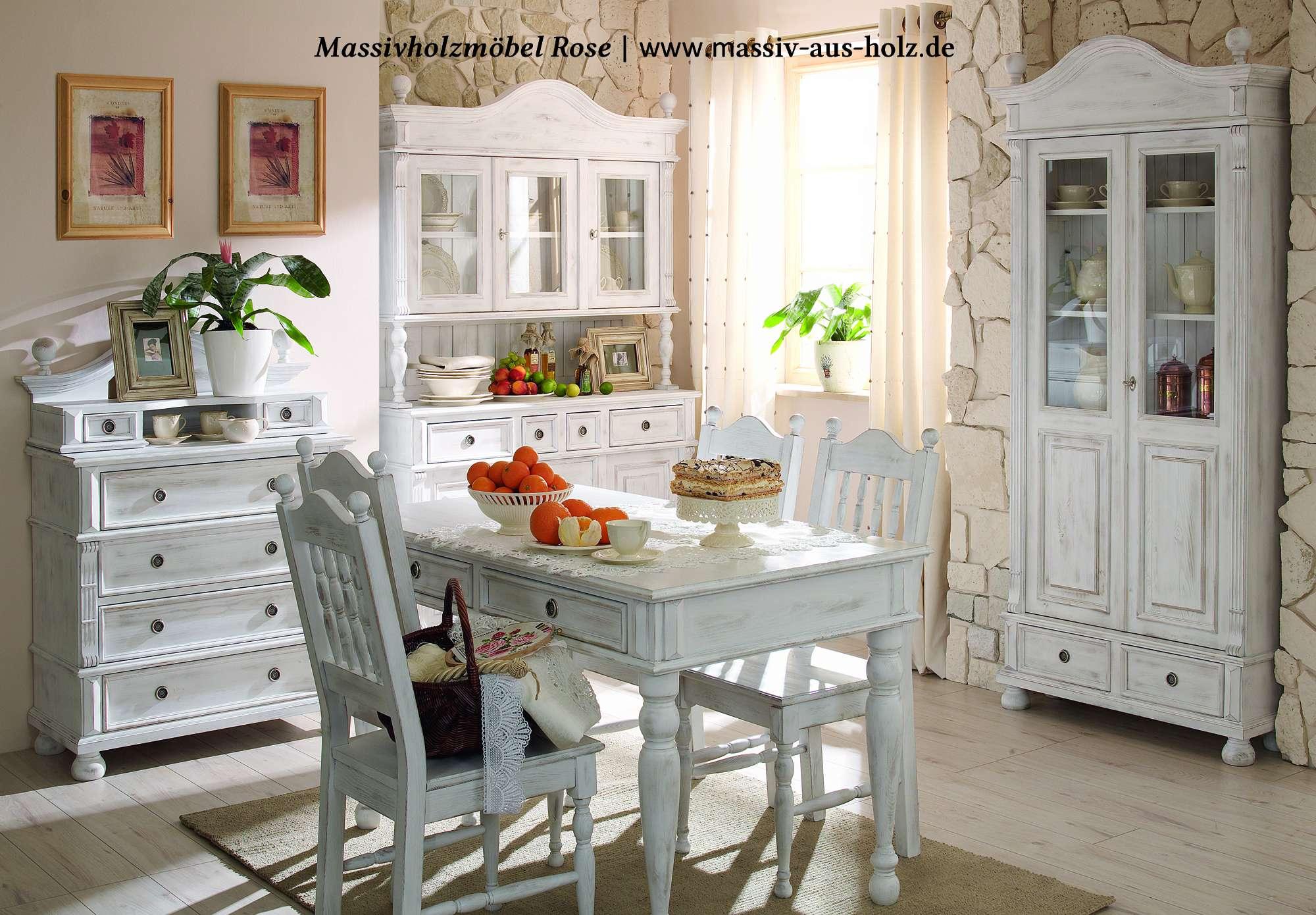 Ansprechend Massiv Aus Holz Foto Von Esszimmer Im Stil, Alt Weiß Shabby Chic