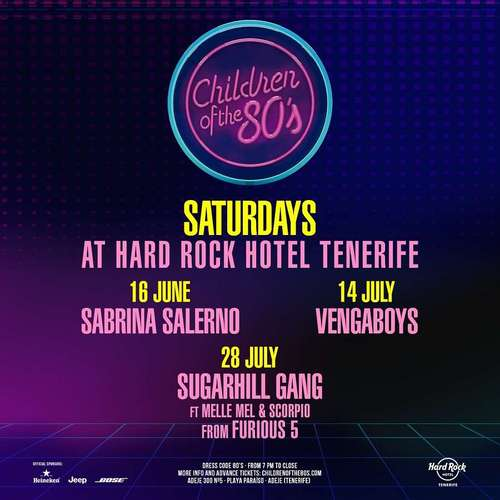 Das Hard Rock Hotel Teneriffa gibt das 'Children of the 80's' Sommer Line-Up bekannt